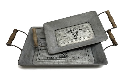 Farm Fresh Rooster Tray Set of 2
